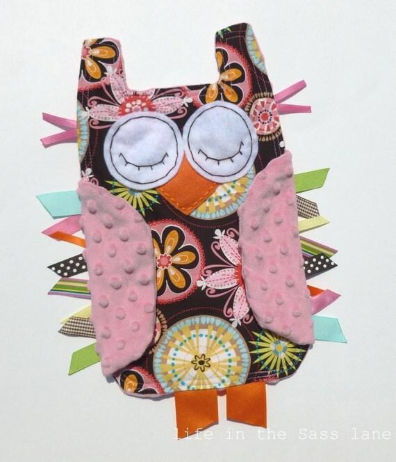 Michael Miller Carnival Bloom Print OWL Baby Blanket and Pink Minky Blankie Lovey Lovie Baby Gift