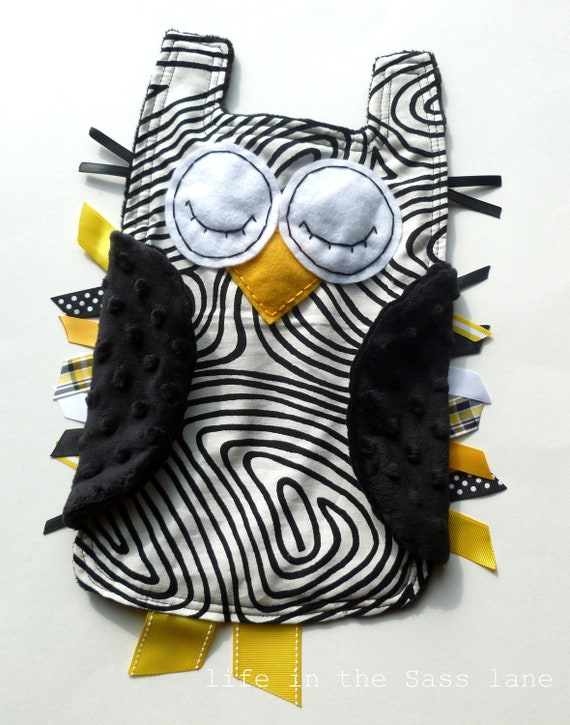 Faux Bois Woodland OWL Ribbon Tag Baby Blanket in Black, White and Yellow Minky Blankie Lovey Lovie Baby Gift