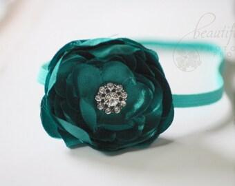 Teal Flower Headband Newborn Photography Prop