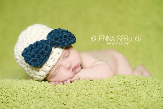 Bow Hat Newborn Photography Prop Denim Blue Cream