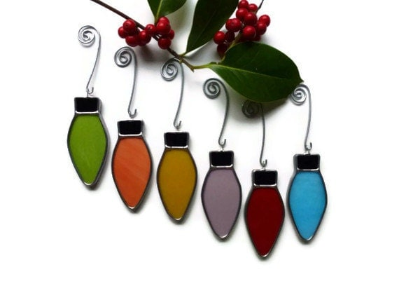 Stained glass christmas lights rainbow set of suncatchers