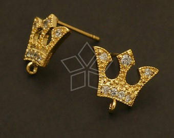 SI-498-GD / 2 Pcs - Jewel Tiara Earring Findings, Gold Plated over Brass Body with .925 Sterling Silver Post / 12.7mm x 12mm