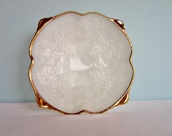 Federal Milk Glass Gold Rim Bowl - Grape Design With Gold Rim