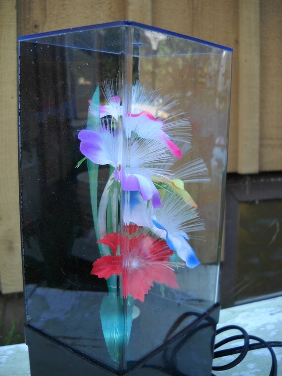 Vintage Fiber Optic Flower Light Lamp Color Changing 1989