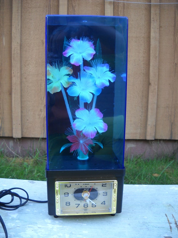 Vintage Fiber Optic Flower Light Lamp Color Changing Clock