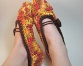 Women's Mary Jane Slippers - Fall Leaves - Handmade Crochet Cozy House Shoes