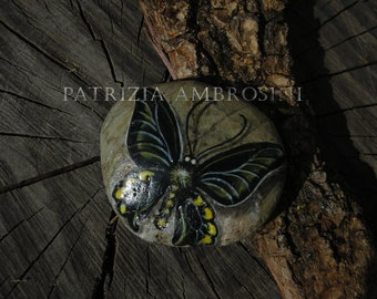 Handpainted Butterfly No.3  rock painting handpainted stone miniature painted rock art