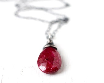 July Birthstone Red Ruby Oxidized Sterling Silver Necklace - Blood, Genuine Gemstone Wire Wrapped Necklace