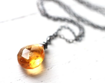 November Birthstone Citrine Oxidized Sterling Silver Necklace - Honey Yellow Gemstone Wire Wrapped Necklace
