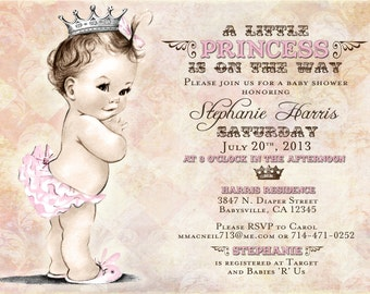 Vintage Baby Shower Invitation For Girl - Princess - Crown - Pink - Stephanie Collection - DIY Printable