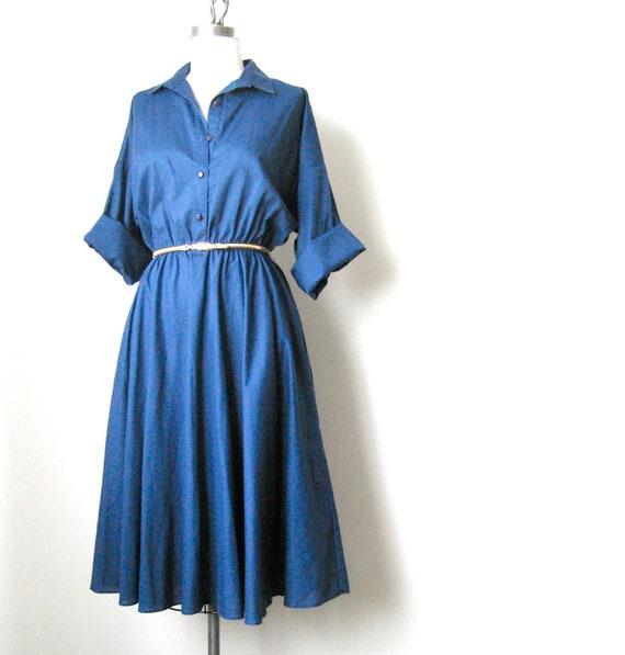 Vintage 70s Cotton Navy Shirt Dress - Size: M