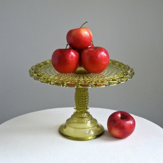 Victorian Amber Glass Cake Stand Thousand Eye Pattern Adams 1870s EAPG