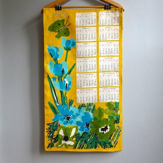 Vera Neumann Linen 1968 Calendar Tea Towel in Yellow Green Blue 1960s Kitchen Decor Wall Hanging