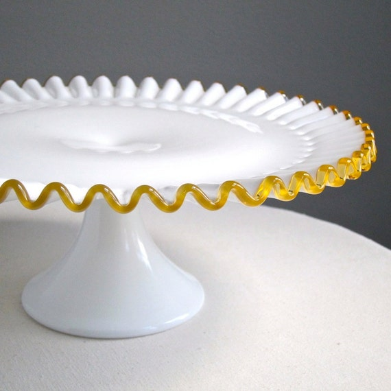 Fenton Gold Crest Milk Glass Cake Stand Amber Golden Yellow