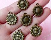 Sunflower Charms Antique Bronzed (6pcs) (16mm x 18mm) Metal Finding Pendant Bracelet Earrings Zipper Pulls Bookmarks Key Chains CHM063