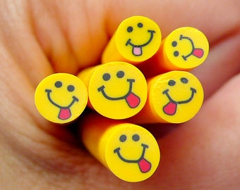 Yellow Smiley w/ Tongue Polymer Clay Cane Kawaii Fimo Cane Nail Art Nail Deco Nail Decoration Scrapbooking CE051