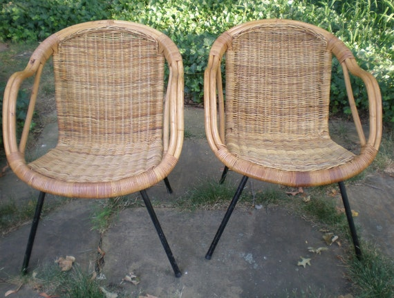 Mid Century Rattan and Iron Chair / PAIR