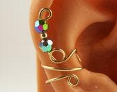 Ear Cuff Cartilage Earrings Gold Filled Swarovski Vitrail Crystals Handmade