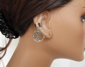 Silver Non Pierced Ear Cuff Anchor Charm