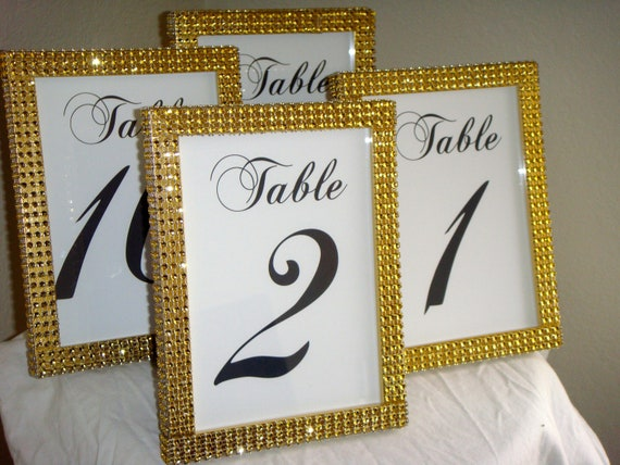 Set of 4 Gold Rhinestone 5x7 Photo Frames Wedding or
