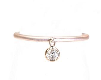 Dangling Diamond Ring, Diamond Ring, Stacking Ring, Gold Diamond Ring, Diamond Bezel Ring, Stacking Diamond Ring,Delicate Diamond Ring,Nixin