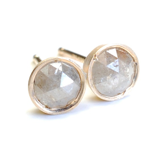 Diamond Earrings, Rose Cut Diamond Earrings, Diamond Studs, Diamond and Gold Stud Earrings, Grey Hue, .70 ct, Nixin