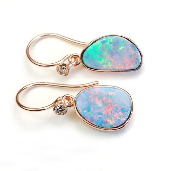 Opal Earrings Opal Diamond Earrings Australian Opal