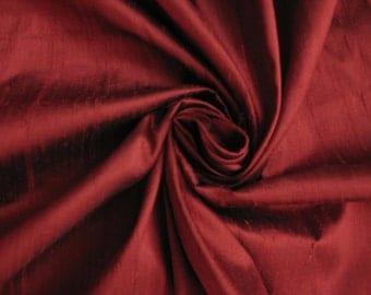 """Burgundy Burgandy Red 100% dupioni silk fabric yardage By the Yard 45"""" wide"""