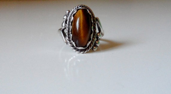 Vintage Sterling Silver Semi-Precious Tiger's Eye Filigree Ring Size 7 RESERVED FOR JESSI