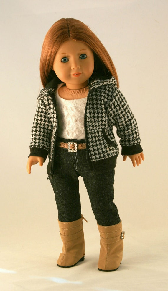 American Girl Doll Clothes - Houndstooth Hoodie, Detailed Jeans, Lined Lace Tank, and Belt