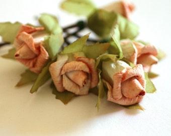 Peach Rose, Bridal Hair Accessories, Bohemian Wedding Hair Flower, Peach Hair Flower, Bobby Pins - Set of 5