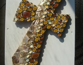 Gorgeous Wall Cross, strong angular shape in colors of Earth and Ocean shells