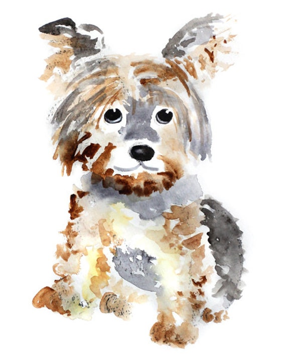 Yorkie dog art dog art print watercolor dog by for Dog painting artist