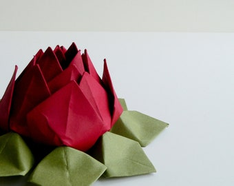 Valentine Lotus Flower - Origami paper flower - Deep Red, Moss Green - romantic gift, decoration - can be shipped directly