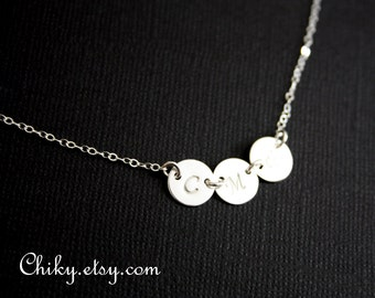Family Initial necklace  All Sterling Silver- Three sideways Disc , engraved monogram necklace , personalize initial, modern everyday wear