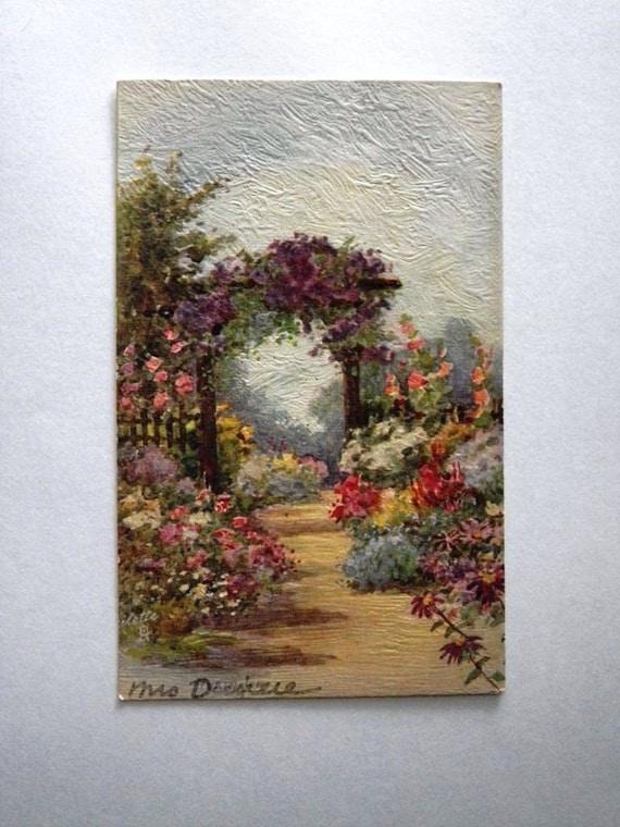 Antique Oilette Postcard 2361 - Impressionist All in a Garden Fair Series