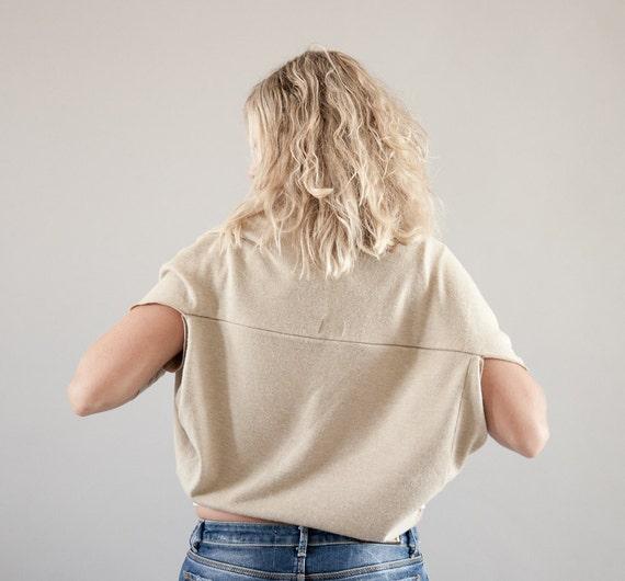 50% OFF SALE-Vanilla Beige Shrug Cardigan in Angora Jersey- Cream Shrug Bolero, Short Sleeve Cropped Cardigan-Winter Fashion-Ecru Cardigan