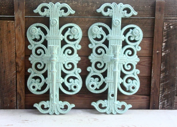 Two Large Vintage Ornate Upcycled Sconces