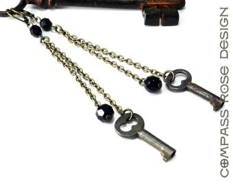 Steampunk Key Earrings Vintage Antique Skeleton Key Authentic Upcycled Long Chain Earrings Black Accent