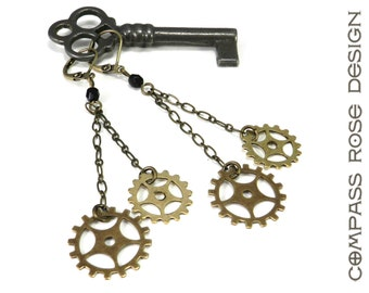 Steampunk Earring Brass Sprockets - Antiqued Brass Long Dangle Gear Earrings with Black Accent handmade by Compass Rose Design