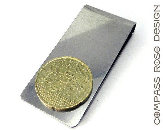 Men's Steampunk Money Clip with Vintage French Coin by Compass Rose Design