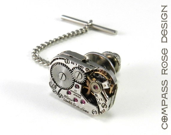 Steampunk Tie Tack - Mechanical Watch Movement - SOLDERED Mechanical Watch Tie Pin - Wedding Anniversary Everyday