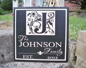 Monogram Sign with Family Name - JOHNSON style