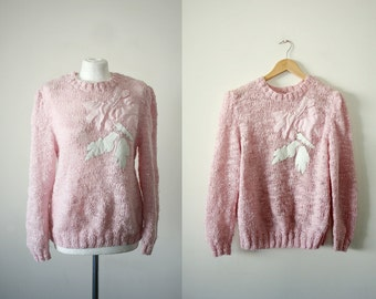 1980's Silk Cotton Boucle Sweater Hand Knit Dusty Pink Sweater Medium