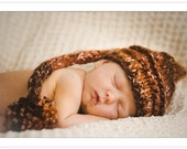 Newborn Chunky Elf Hat with Pom Pom in Chocolate Art Color- More Colors Available
