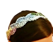 PASTEL MULTICOLORED Crochet Headband - Womens Adult Size  Ladies Boho Hippie Hair Band