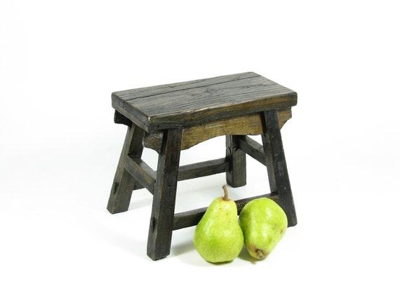Vintage Wooden Stool Primitive Wood Footstool Milk Stool