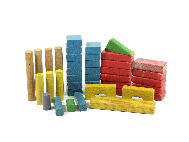 Vintage wood toy blocks playskool wooden stacking