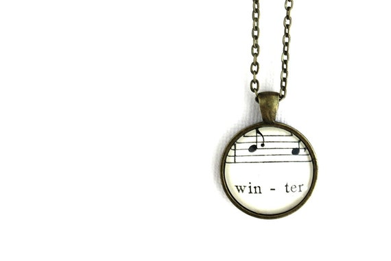 Winter necklace for woman made with vintage sheet music under glass. Gift for mother, sister, wife, girlfriend, friend