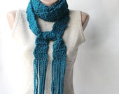 SALE Teal long scarf Wool Crochet Fall fashion Autumn accesories